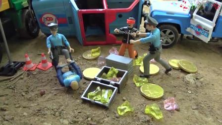 成长益智玩具,模拟警车施工救援现场工作视频,救援工程车和轿车!