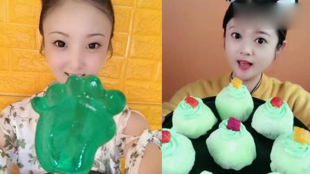 萌姐吃播:果冻糖果、抹茶雪媚娘,香甜美味,你想吃吗