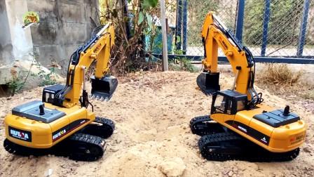 遥控操作测试两款仿真挖掘机玩具