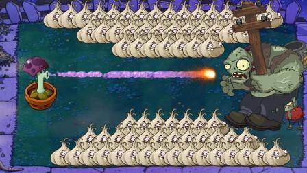 大蒜给巨人僵尸摆出一条路来,小喷菇:终于能和你单挑一把了!