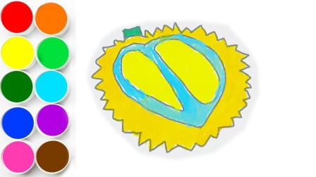 创意简笔画,教你制作榴莲水果简笔画并涂色,好玩又动脑!