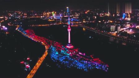 航拍武汉电视塔夜景,真的很漂亮