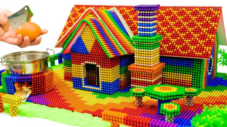 在家无聊瞎折腾,用磁球建造一座带有火炉的房子,这创意如何?