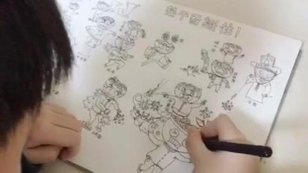 湖南怀化11岁男孩创意画《热干面挺住》:全国各地的面带来了口罩药品声援武汉热干面。