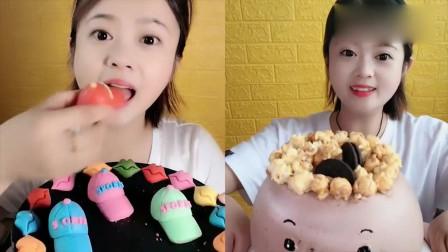 小美女吃播:小帽子巧克力糖、卡通蛋糕,各种口味任意选