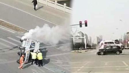 山東一120救護車載孕婦去醫院 十字路口過紅燈被撞翻