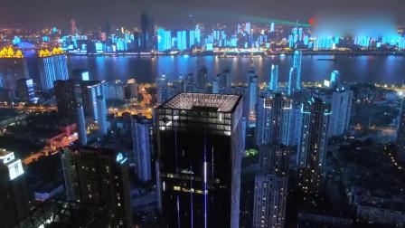 武汉夜景航拍,美得惊艳绝伦,武汉加油!