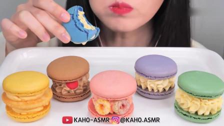 吃货小姐姐:小姐姐吃彩虹般的马卡龙蛋糕,发出的咀嚼声,看起来真漂亮