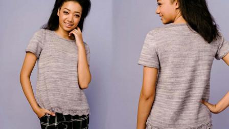 短袖套衫下摆花样的编织方法,简洁精致,简单好织超漂亮的钩法