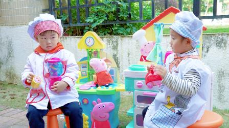 枫枫玩具 萌娃枫枫的小猪佩奇食堂开业啦!草莓汁和火腿肠都超级美味