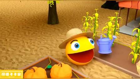 漂亮的蝴蝶助吃豆人吃到会发光的苹果!吃豆人游戏
