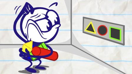 阿呆和小狗狗想吃肉了可没有钱要怎么办?铅笔画小人游戏