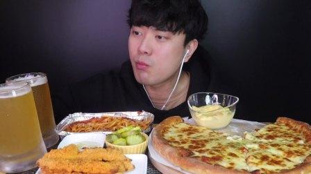 韩国吃播 美食吃货Gyun  披萨+意面+炸虾