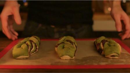 小猪猪美食,抹茶红豆面包,面包爱好者的最爱