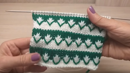 提花花样就是养眼,一款双色提花V字花样教程,织毛衣非常好看