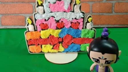 今天是爷爷六十大寿,葫芦娃要给爷爷做个蛋糕,祝他生日快乐!