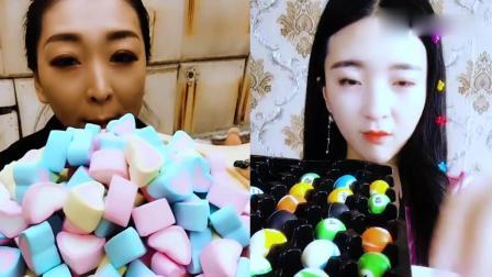 小姐姐直播吃彩色心形棉花糖,看着真过瘾,向往的生活