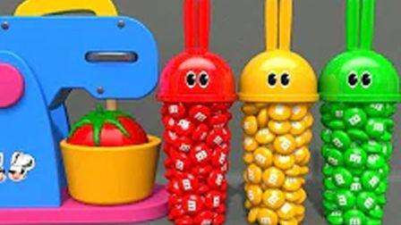 学习颜色与兔子水杯和胶球机水果软球 认识四种彩色蛋里的小动物