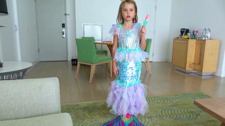 越看越有趣萌娃小可爱用魔法棒把自己变成了超漂亮的美人鱼太可爱啦