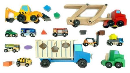 帮助大卡车和挖掘机运输彩色的积木块