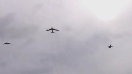 美军最强大三款战略轰炸机齐飞过天空,B1超音速B2隐形B52老兵不死