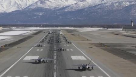 气场让人窒息,F-22隐形战机大象漫步排队起飞
