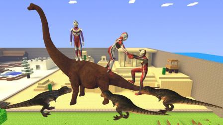 GMOD游戏奥特曼爬到长颈龙背上能躲避霸王龙攻击吗?