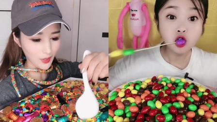 网红小姐姐直播吃巧克力彩豆,入口嘎嘣脆甜,都是孩子们的最爱