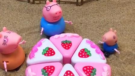 猪妈妈买了好吃的生日蛋糕,可乔治不知道是谁过生日,原来乔治把自己的生日忘记了