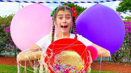 萌宝颜色启蒙:彩色气球里面有什么糖果零食?可为何小萝莉满身都是彩带?
