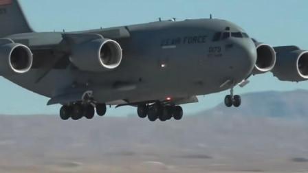 C-17发动机开反推倒退行驶,这就是战略运输机的强大