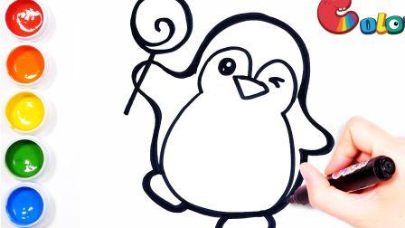 【简笔画】画一个喜欢吃棒棒糖的小企鹅