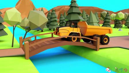 成长益智玩具,工程车试行驶修建好的木桥,承重力不够,挖掘机前往救援!