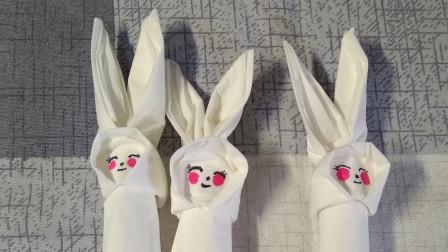 面巾纸小兔子手工窦老师教画画