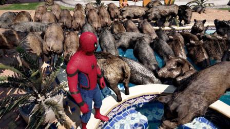 GTA5:麦克家的泳池养了30头野猪,不愧是土豪