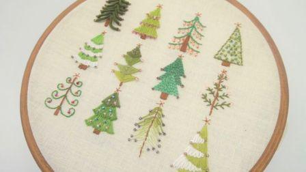 【刺绣】12种圣诞节圣诞树刺绣方法教程~【搬运 1080p】