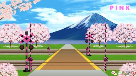 成长益智玩具,火车轨道修建在桃花源中,火车经过飞落很多桃花和桃子!