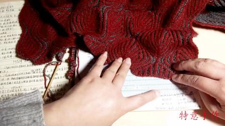 棒针编织双色双面双元宝针的叶子花样围巾的编织过程演示一