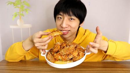 抖音上学的韩式蜂蜜炸鸡翅真的好吃吗?小伙在家做了一大盘尝试!