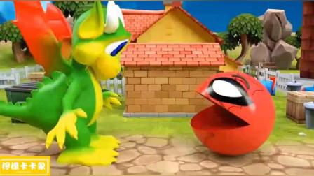 变蜘蛛侠的吃豆人居然把恐龙给吓跑了!吃豆人游戏