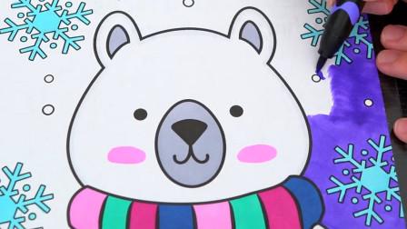 小范亲子简笔画 带着围巾的小熊儿童卡通简笔画