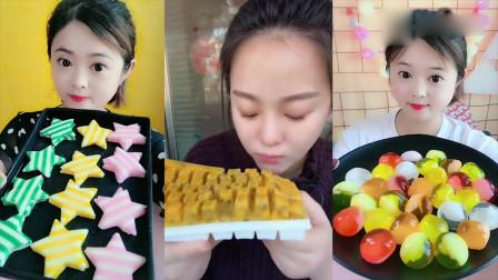 美女直播吃创意百香果键盘、小鸡蛋果冻, 看着就想吃