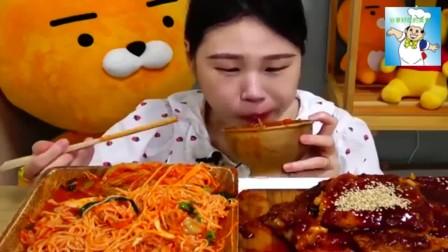 美食故事 吃播韩国大胃王小妹吃炸猪排,过瘾