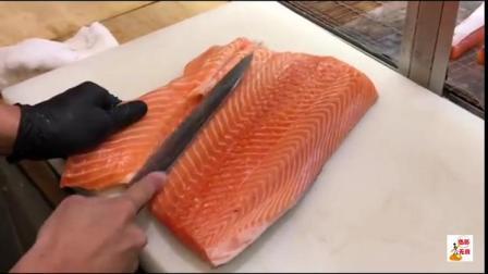 一条20斤重三文鱼,厨师刀功精湛快速切割,刺身鲜美吃着都爽