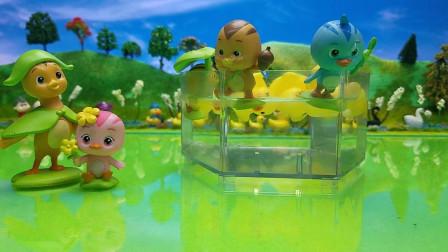 萌鸡小队和小鸭子快乐游泳