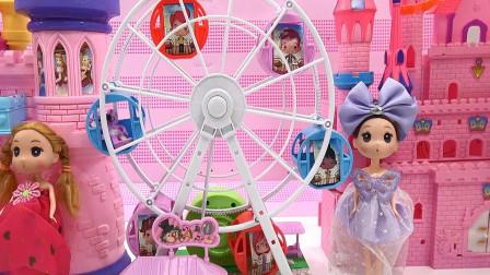 亮亮玩具芭比娃娃游乐场游玩和吃冰激凌,婴幼儿宝宝过家家游戏视频