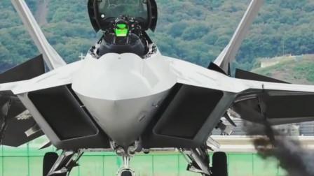 F-22腹部喷出一股黑烟,冷启动瞬间小型涡轮启动