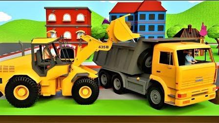挖掘机动画 堆土机大卡车城市里建设惊喜游泳池