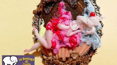 【油管】意大利妹子捏杯子蛋糕女士~