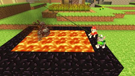 GMOD游戏汪汪队在岩浆里钓鱼钓到一个怪兽